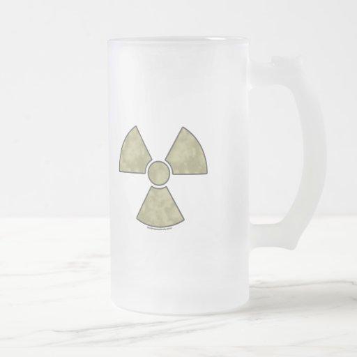 Radioactive Warning Symbol Frosted Glass Beer Mug
