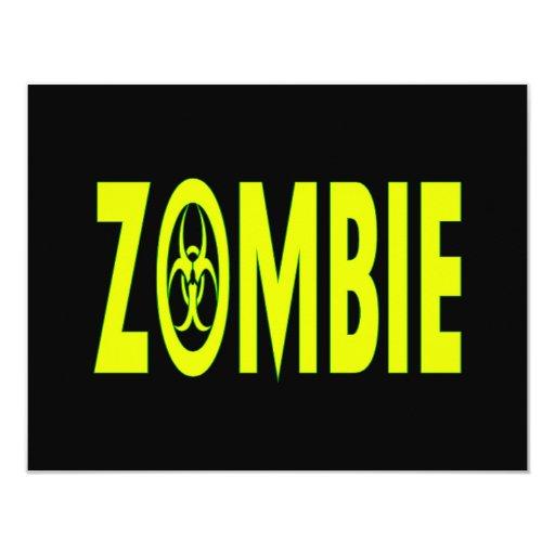 """Radioactive Zombie 4.25"""" X 5.5"""" Invitation Card"""
