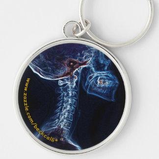 Radiografía azul de la C-Espina dorsal (personaliz Llavero Redondo Plateado