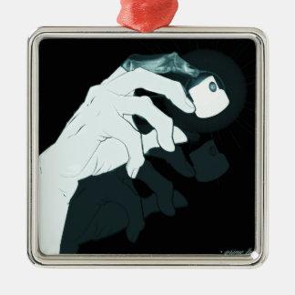 radiografía de la mano de la pintada adorno navideño cuadrado de metal