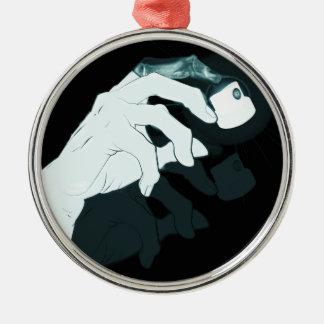 radiografía de la mano de la pintada adorno navideño redondo de metal