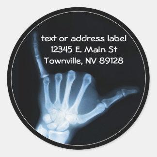 Radiografía de la muestra de Shaka (caída floja) Etiqueta Redonda