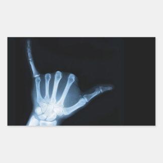 Radiografía de la muestra de Shaka (caída floja) Pegatina Rectangular