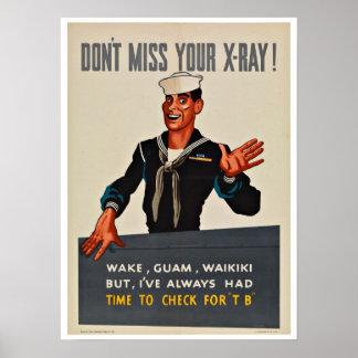 Radiografía de WWII - patriotismo del vintage Póster