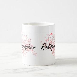 Radiographer Artistic Job Design with Butterflies Coffee Mug