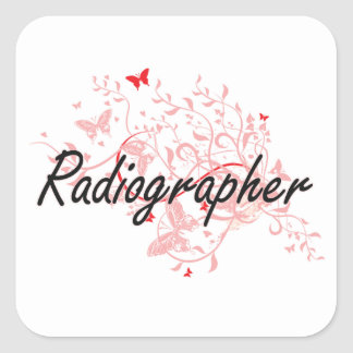 Radiographer Artistic Job Design with Butterflies Square Sticker