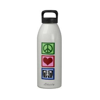 Radiología del amor de la paz botellas de agua reutilizables