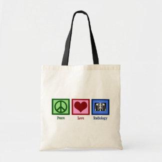 Radiología del amor de la paz bolsa tela barata