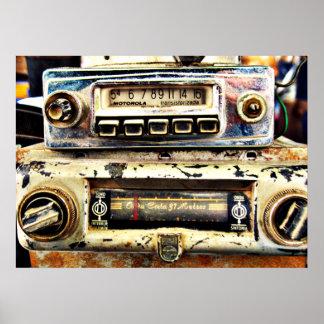 Radios de coche del vintage póster