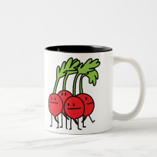 Radish Happy Bunch - Radishes being happy! Two-Tone Coffee Mug