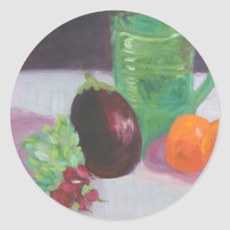 Radishes Aubergine and Oranges Classic Round Sticker