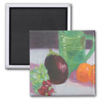 Radishes Aubergine and Oranges 2 Inch Square Magnet