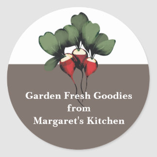 radishes vegetable kitchen gift tags stickers