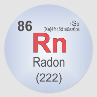 Radon Individual Element of the Periodic Table Classic Round Sticker