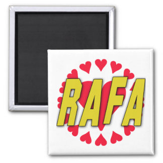 RAFA with Hearts on Tshirts and More 2 Inch Square Magnet