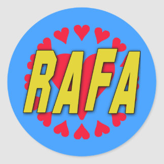 RAFA with Hearts on Tshirts and More Classic Round Sticker