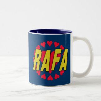 RAFA with Hearts on Tshirts and More Two-Tone Coffee Mug