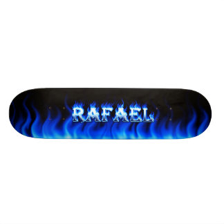 Rafael skateboard blue fire and flames design