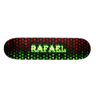 Rafael skateboard green fire and flames design.