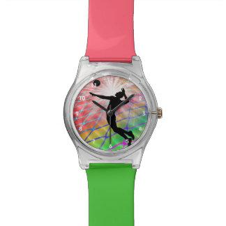 Ráfaga colorida en voleibol relojes de pulsera
