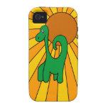 Ráfaga de Dino - caso del iPhone 4 del dinosaurio Case-Mate iPhone 4 Funda