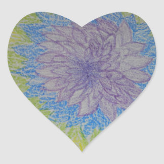 Ráfaga de la flor de Chakra Pegatina En Forma De Corazón