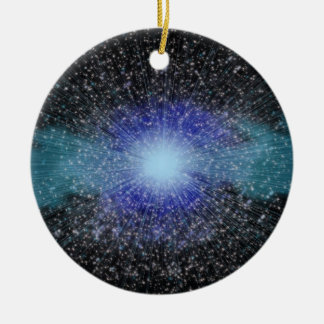 Ráfaga del espacio adorno navideño redondo de cerámica