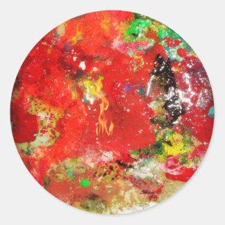 Ráfaga roja abstracta pegatina redonda