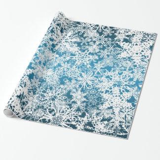Ráfagas de nieve del navidad azules papel de regalo