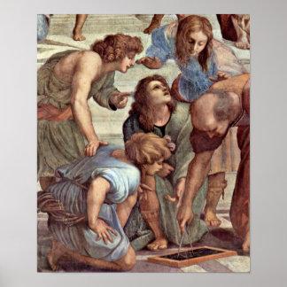 Raffael - Euclid (Bramante) and students Poster