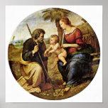 Raffael - familia santa debajo de una palmera Tond Posters