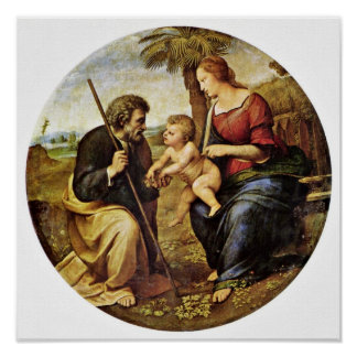 Raffael - Holy Family under a palm tree Tondo Print