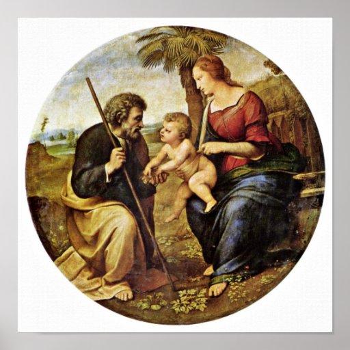 Raffael - Holy Family under a palm tree Tondo Poster