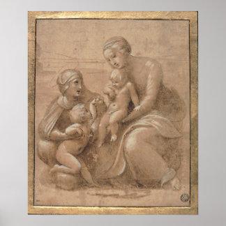 Raffaello - madonna col bambino san giovannino posters