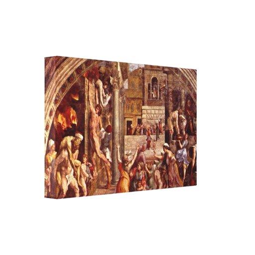 Raffaello Sanzio DA Urbino - fuego en el Borgo Impresión En Lienzo Estirada
