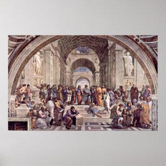 Raffaello Sanzio DA Urbino - la escuela de Atenas Poster