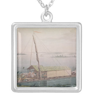 Raft on the Guayaquil River Silver Plated Necklace