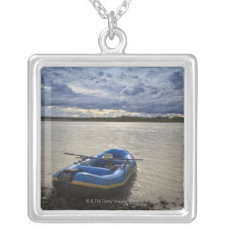 Rafting on Talkeetna River, Alaska Silver Plated Necklace