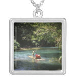 Rafting on the Martha Brae River, Falmouth, Square Pendant Necklace