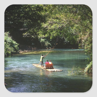 Rafting on the Martha Brae River, Falmouth, Square Sticker