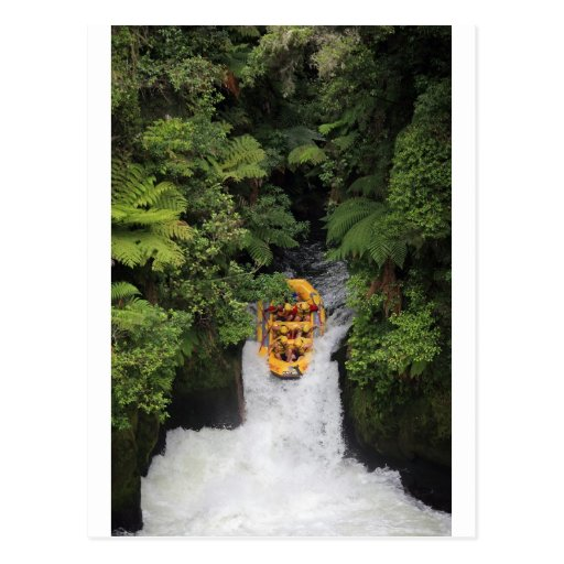 Rafting over waterfall New Zealand Post Cards