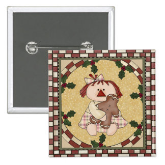 Rag Doll and Gingerbread Pinback Button