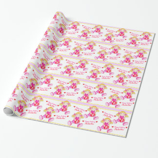 Rag doll art add your name girls 1st birthday wrap wrapping paper