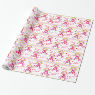 Rag doll art add your name girls 2nd birthday wrap wrapping paper