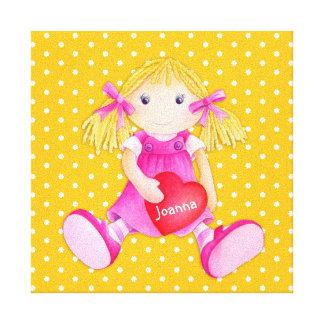 Rag doll girls personalized yellow nursery art gallery wrap canvas
