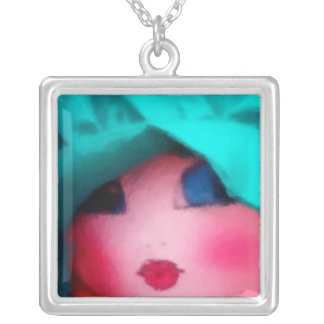 Rag Doll in Teal Bonnet Square Pendant Necklace