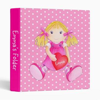 Rag doll polka dot flowers pink named folder binder
