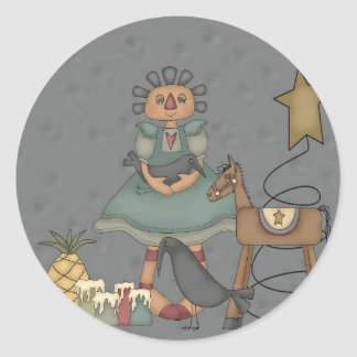 Rag Doll Primitive Horse Crow Tin Star Candles Classic Round Sticker