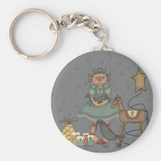 Rag Doll Primitive Horse Crow Tin Star Candles Keychain