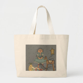 Rag Doll Primitive Horse Crow Tin Star Candles Large Tote Bag